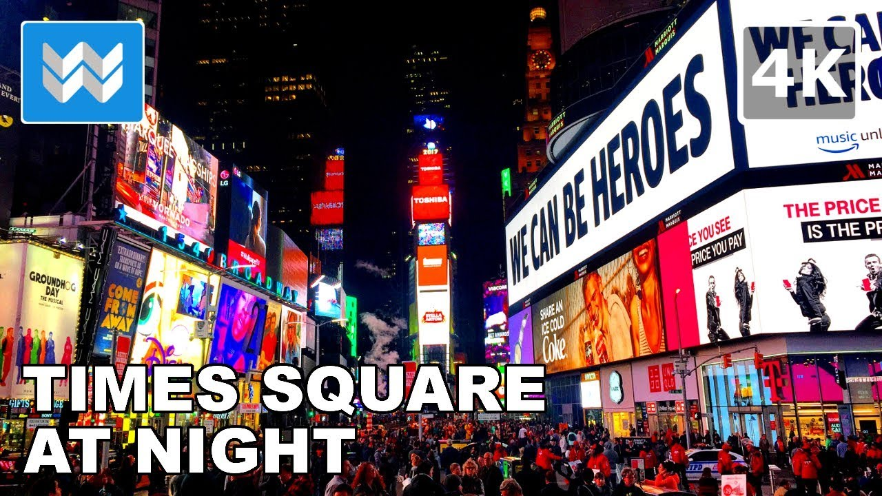 Walking around times square at night in new york city 4k for What to do around times square