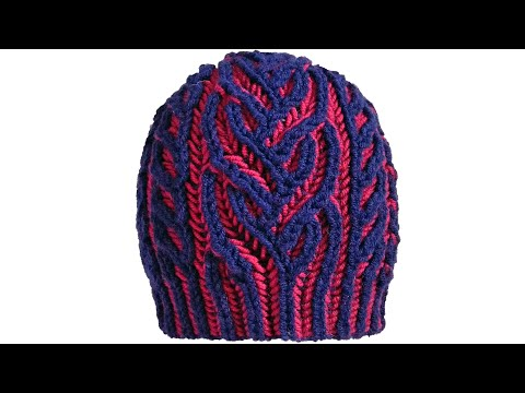 Interweave hat, two-color brioche stitch knitting pattern with Italian/tubular cast-on + free chart