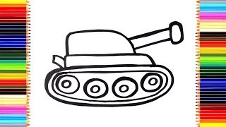 Как нарисовать ТАНК / мультик раскраска ТАНК для детей / Раскраски малышам