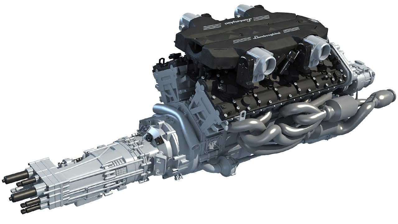 V12 Engine With Transmission Model