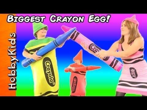 World's BIGGEST CRAYON Surprise Egg! Sword Fight + Window Coloring Family Fun Crayola HobbyKidsTV