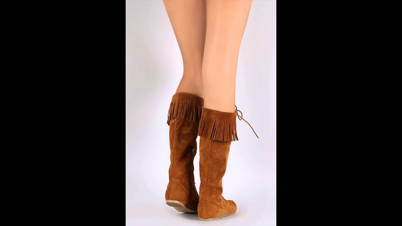 Minnetonka suede leather knee high tall lace up moccasin fringe boots - Bamboo Fringe Lace Up Moccasin Flat Boots