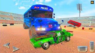 US Police Monster Bus Demolition Derby Crash Stunts #2 - Android Gameplay. screenshot 2