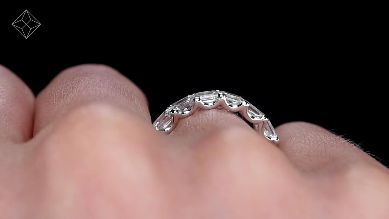 HG65 - Sofia Emerald Cut Diamond Eternity Ring In Platinum - YouTube