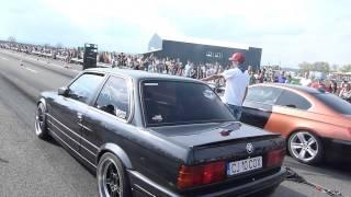 Drag Racing CAMPIA TURZII BMW E30 TURBO vs BMW E92 335i (410HP)