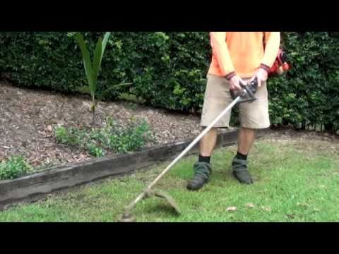 HOW TO MOW LAWN USING WEED WACKER/Whipper Snipper - YouTube