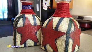 UPCYCLED BOTTLE with NAPKINS | 4th of JULY