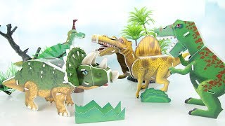 Dinosaurs 3D Puzzle Stop Motion - How to DIY Paper Dinosaurs Fun Video for Kids. T rex Triceratops