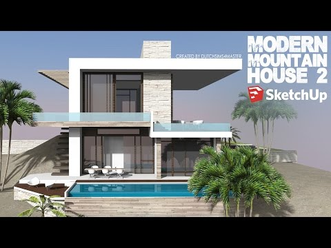 Google sketchup speed building modern house funnycat tv for Modern house sketchup