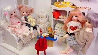★구체관절인형 집,가구,침구,소품~개봉 꾸미기!리나슈슈 데이지,클로에,멜리사,쿠키★Ball Jointed Doll-Doll House Furniture Bedding
