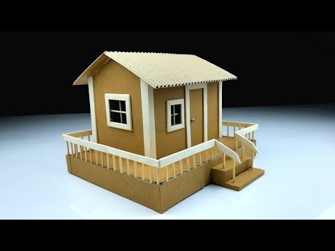 Cardboard Art and Craft Ideas | How to make a Beautiful House from cardboard with LED Light