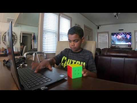 practiceing solving a rubik cube
