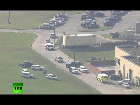 Aerials of school in Texas where shooting incident occurred (streamed live)