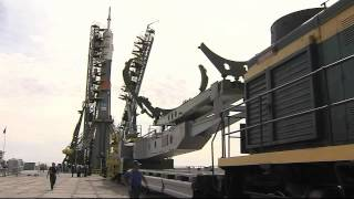 Expedition 44 Soyuz Rocket Moves to Its Launch Pad as the Crew Prepares for Launch
