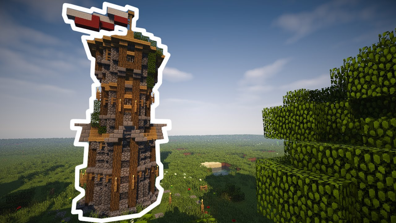 Minecraft How To Build Large Medieval Watchtower Youtube