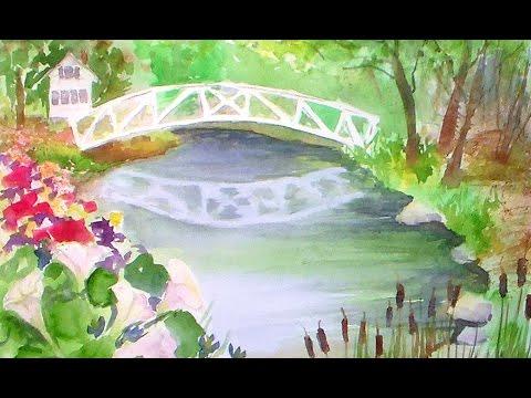 Somesville bridge beginner watercolor tutorial youtube for Video tutorial on watercolor painting