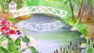Somesville bridge beginner watercolor tutorial