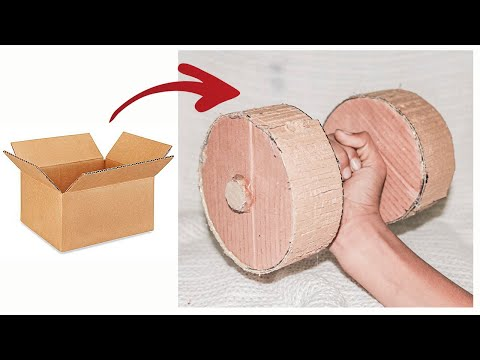 How to make dumbbells for gym at home with cardboard    Cheap Easy Workout Hacks    Genius World TV