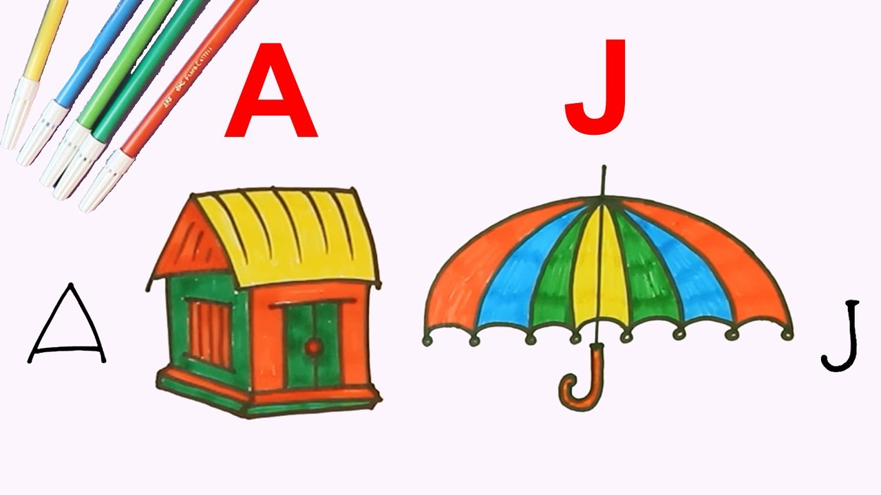 How To Draw Abc Letter With Any Character Drawing And Coloring Fun With Alphabets Drawing For Kids