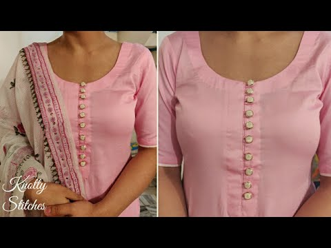 Very Easy and Stylish Neck Design With Buttons Cutting and Stitching in Hindi ( Easy Method)