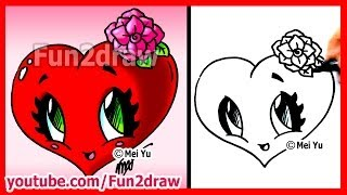 How to Draw Easy Things - Heart with Rose - Fun2draw Valentine