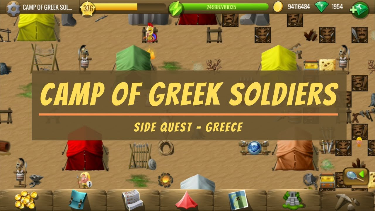 Camp of Greek Soldiers   Greece Side Quest   Diggy's Adventure