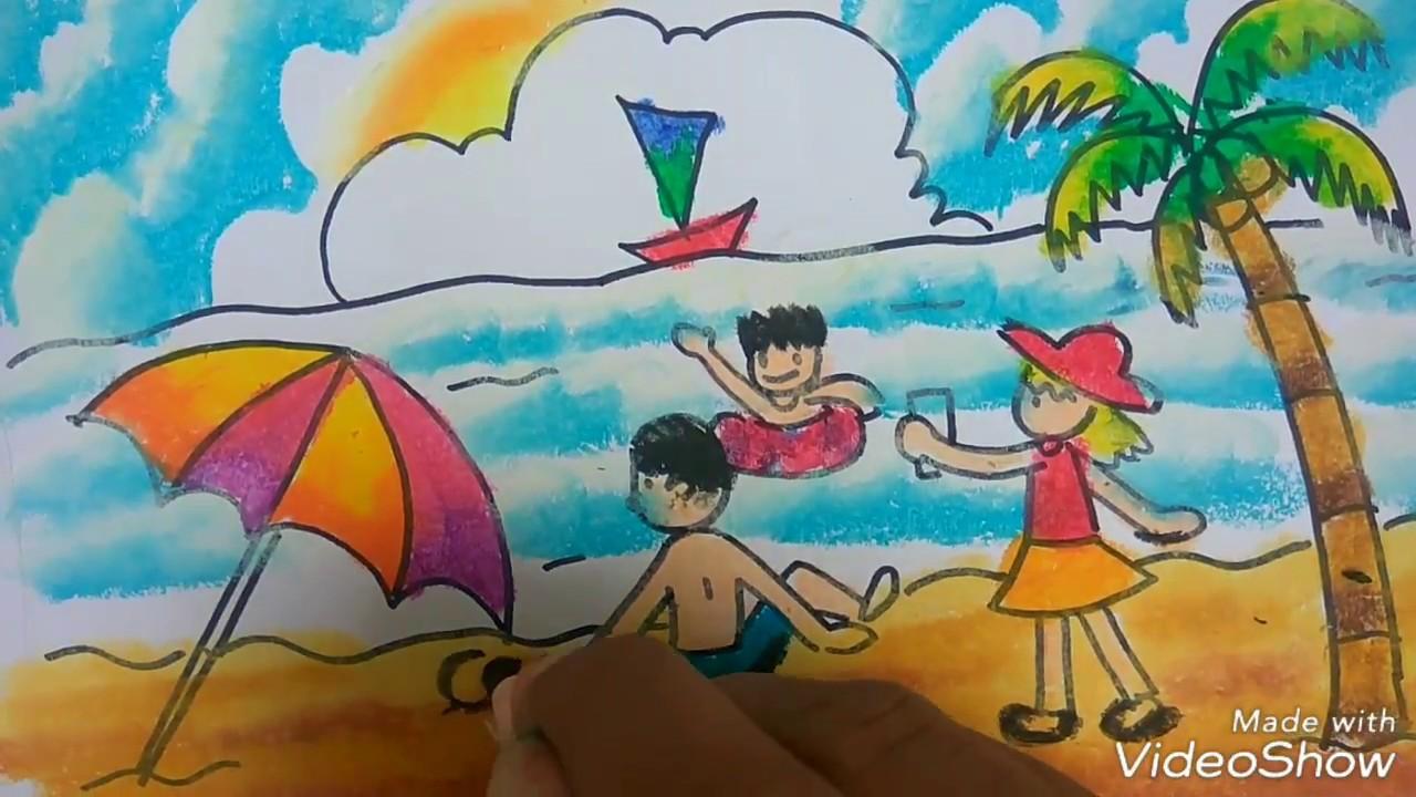 Keren Menggambar dan mewarnai tema pemandangan pantai