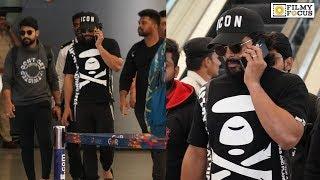 Stylish Star Allu Arjun Back in HYD Spotted at airport | Telugu Airport Videos