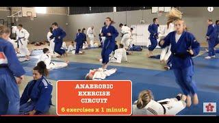 JUDO anaerobic exercise circuit 6 exercises x 1 minute