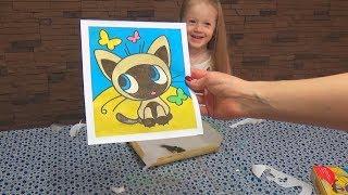 Видео для детей Картина из песка Фреска Котенок по имени Гав DIY sand painting