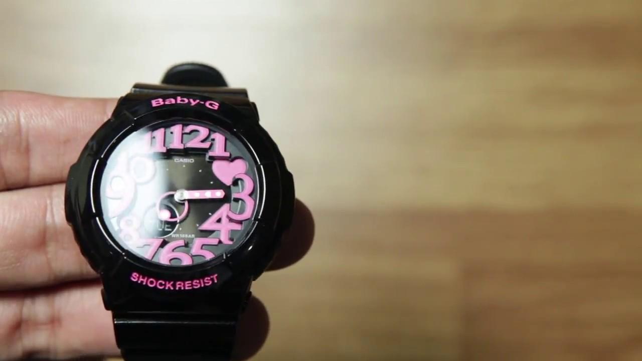Casio Baby G Bga 130 1b Black Pink Analog Youtube 230 7b Original