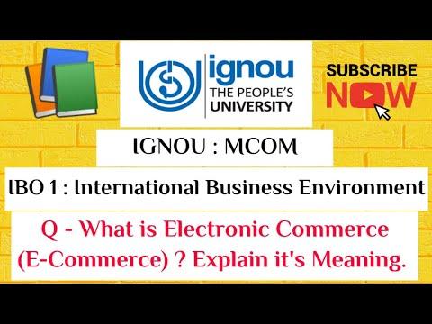 IBO 1- Intl. Business Environment, Electronic Commerce  ( E- Commerce )