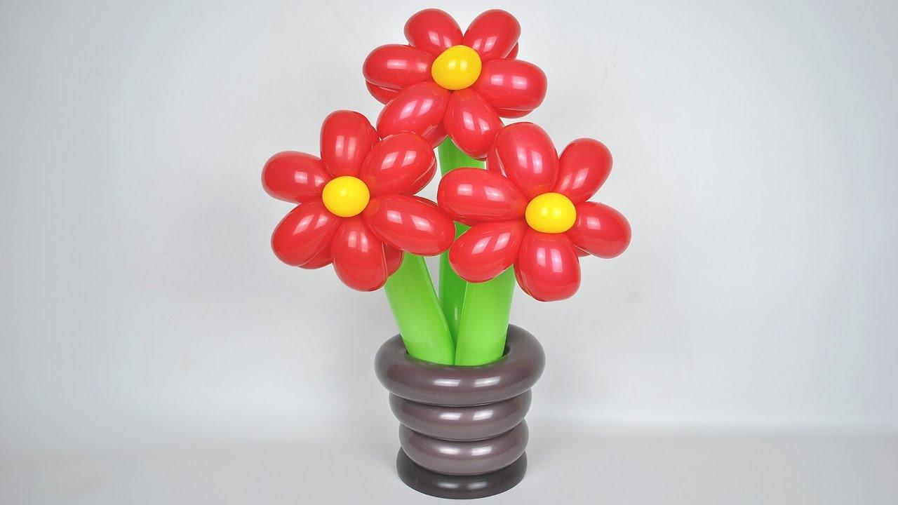 Подставка для цветов из шаров / DIY Stand for flowers of balloons