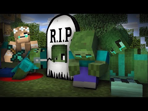 Monster School : RIP Zombie Mark | Zombie Sad Life 12 - Minecraft Animation
