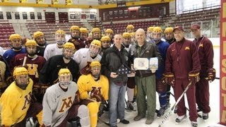 Gopher Hockey Presented with American Flag
