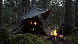 3 Days Solo Bushcraft Trip - Canvas Lavvu Shelter - Monster Pike Fight - Camp Craft