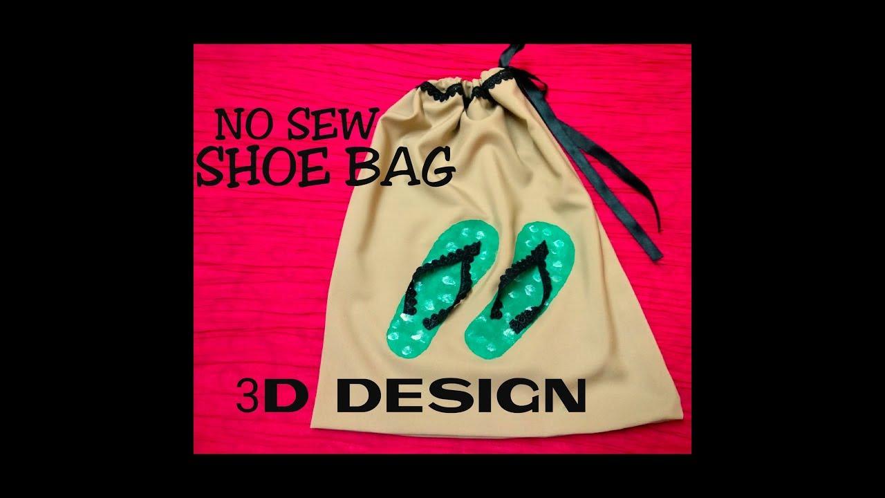 Diy Shoe Bag Drawstring No Sew 3d Design