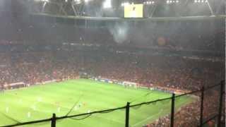 galatasaray fans at kick off v manchester united uefa champions league 20 11 2012