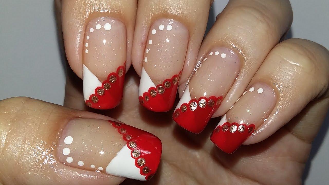Amado Unha de Natal com Vermelho, Branco e Dourado. - YouTube FR31
