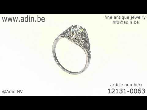 Belle Epoque Art Deco diamond engagement ring platinum fine estate jewelry (12131-0063)