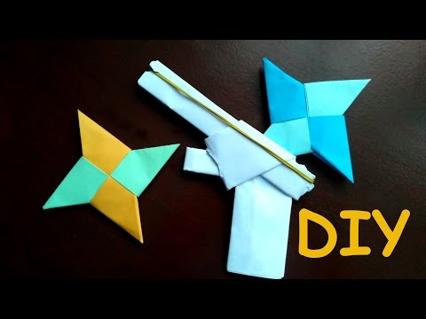 How to make a Paper Ninja star - (Origami Shuriken) + Simple Paper Gun with Trigger