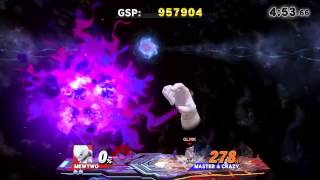 [9.0] Super Smash Bros 4 Wii U: V1.06 Classic Mode Speed run as custom glitched Mewtwo in 2:22.55