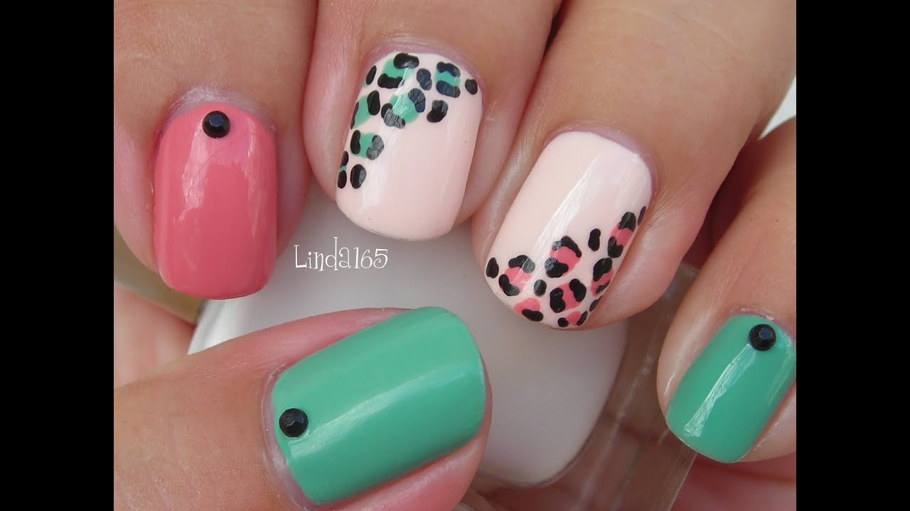 Nail Art - Easy and Girly Leopard Nails - Decoracion de Uñas ...