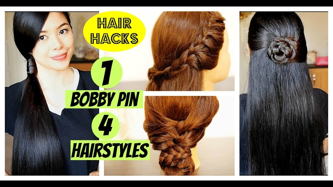 Bobby Pin Hair Hacks- 4 Spring-Summer Hairstyles Using Only One Hair Pin- Beautyklove - YouTube