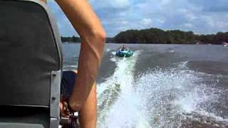 First time pulling the towable tube behind the boat on Lake Greenwood South Carolina