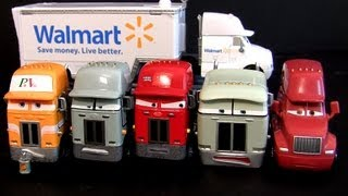 7 Pixar Cars Trucks Walmart Wally Hauler, Jerry Recycled Batteries diecast semi haulers Camion