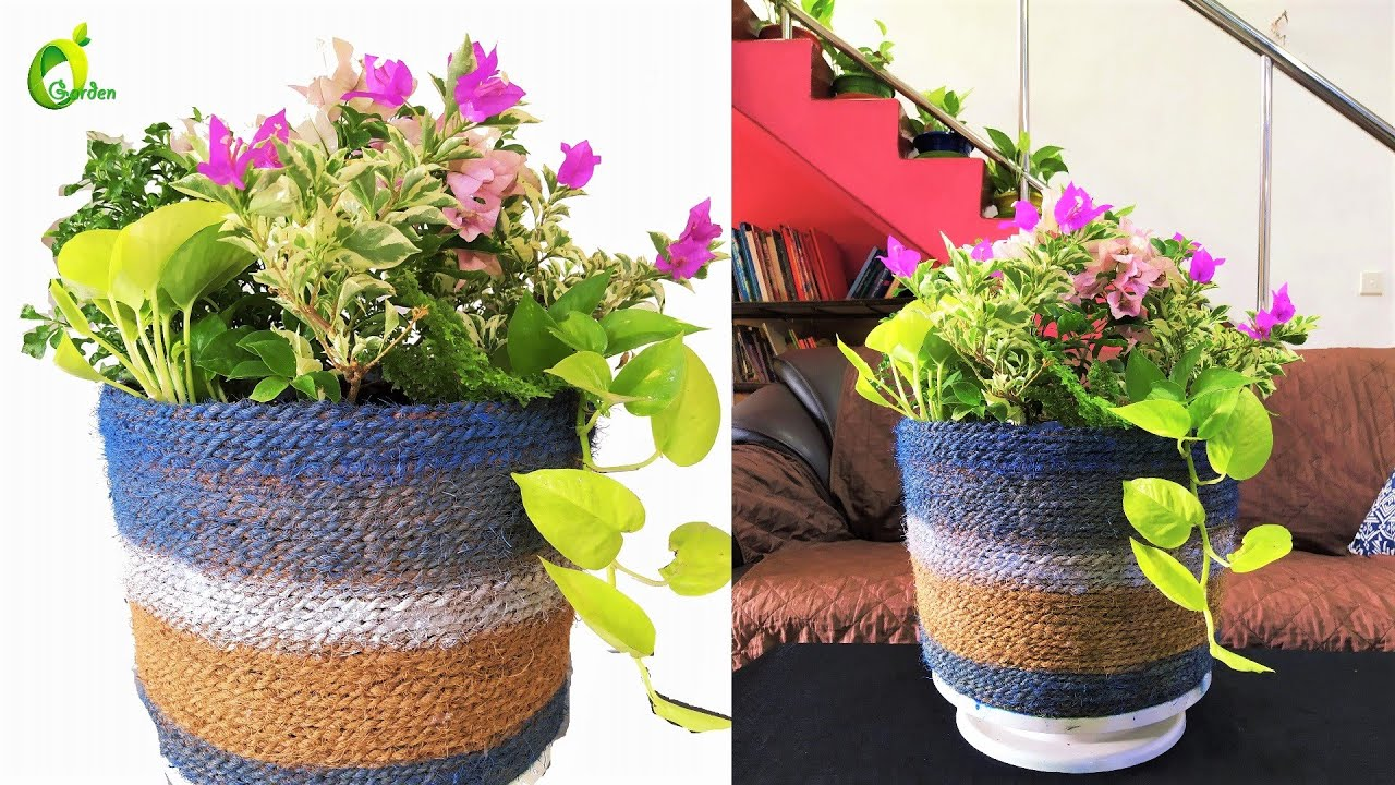 Using Waste Materials To Make Useful Things/Basket Planter/Planter Making At Home//ORGANIC GARDEN