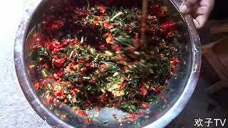 欢子TV:农村人将韭菜可以做成这样的美味,看着都流口水了 【欢子TV】