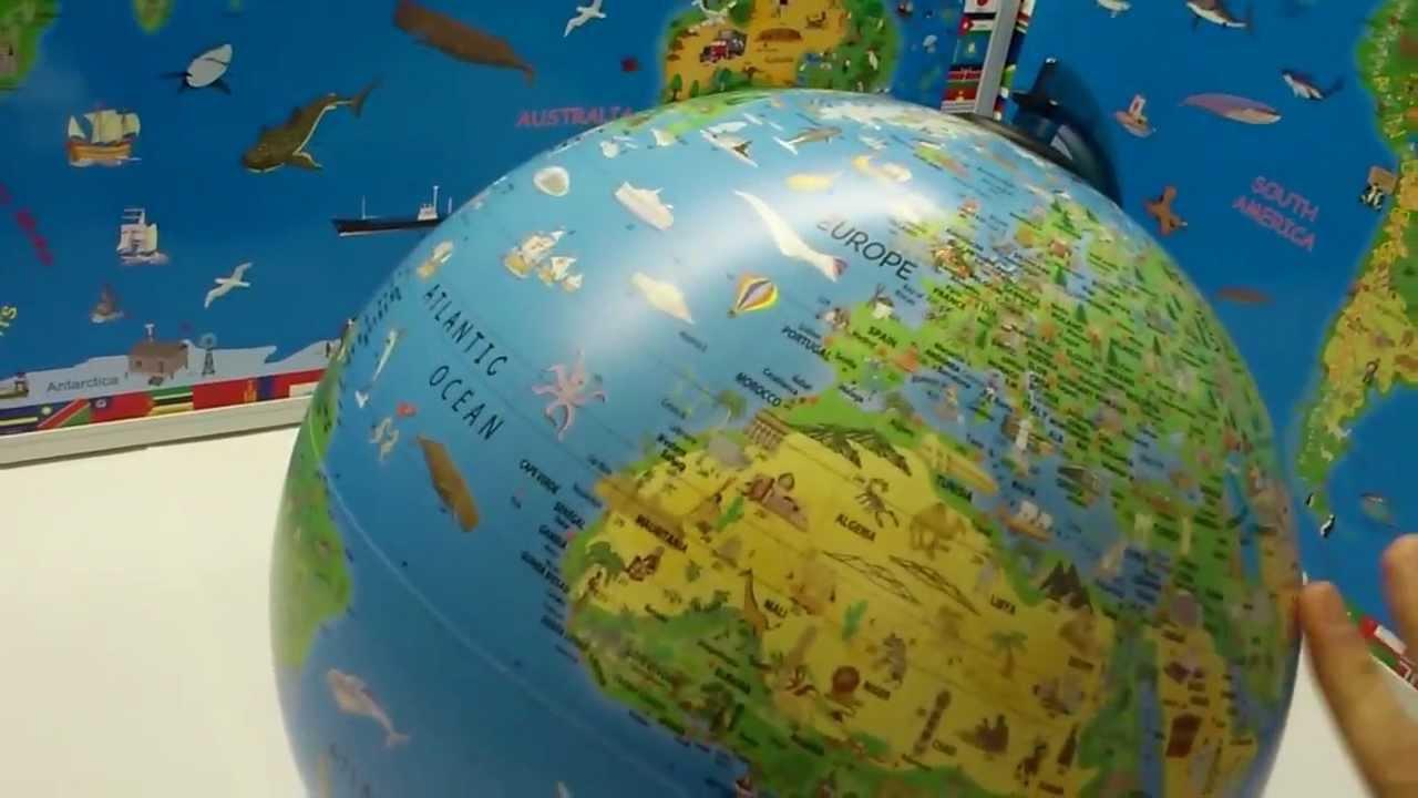 Childrens Globe Illuminated Night Light For Kids YouTube - Globe map for kids