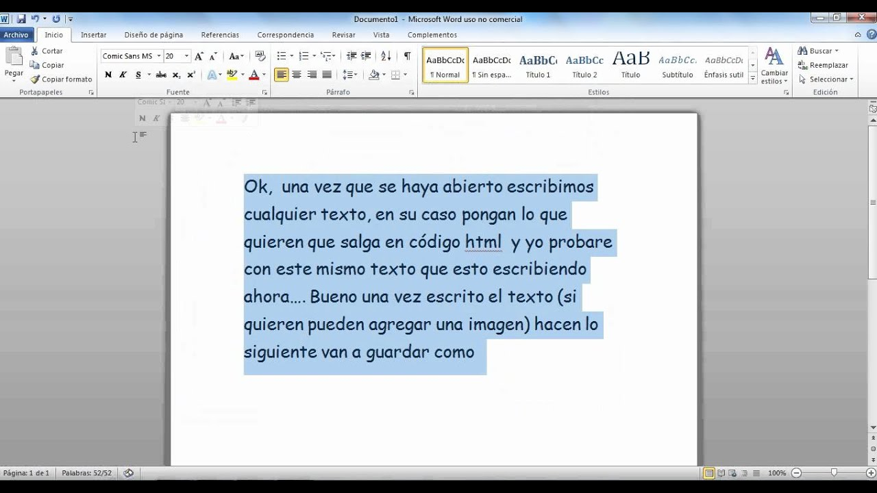 Como convertir un archivo word a html - YouTube
